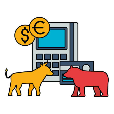 bull and bear ank card money stock market vector illustration Ilustração