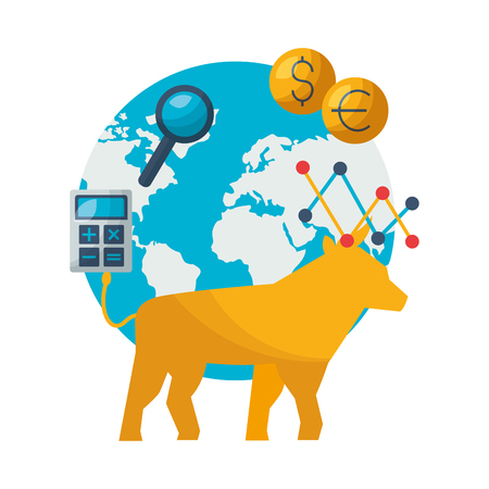 bull world trade exchange stock market vector illustration