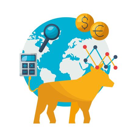 bull world trade exchange stock market vector illustration