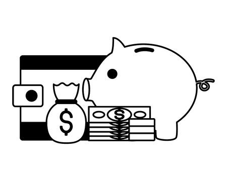 piggy bank wallet money bag stock market vector illustration Banque d'images - 125286089