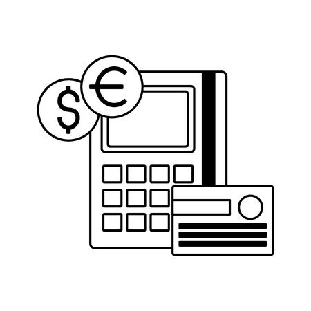 calculator bank card coins stock market vector illustration