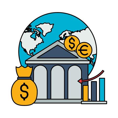 world bank money report chart stock market vector illustration Foto de archivo - 125286091