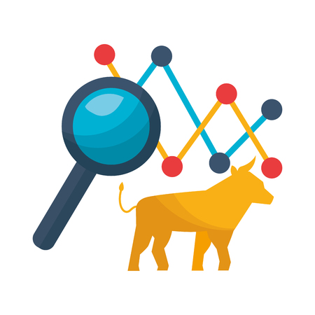 bull chart magnifying glass stock maket vector illustration Ilustracja