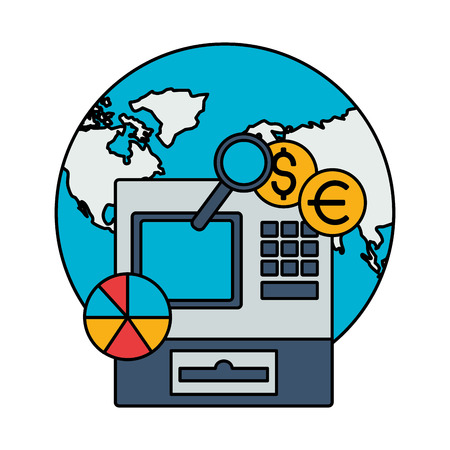 world cash register coins chart stock market vector illustration