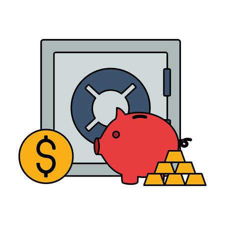 piggy bank safe box coin dollar stock market vector illustration