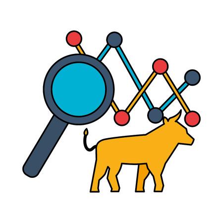 bull chart magnifying glass stock maket vector illustration Zdjęcie Seryjne - 125286105