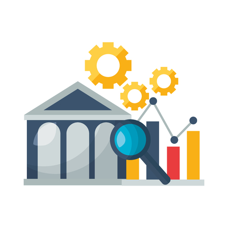 bank chart report gear analysis stock market vector illustration Ilustracja