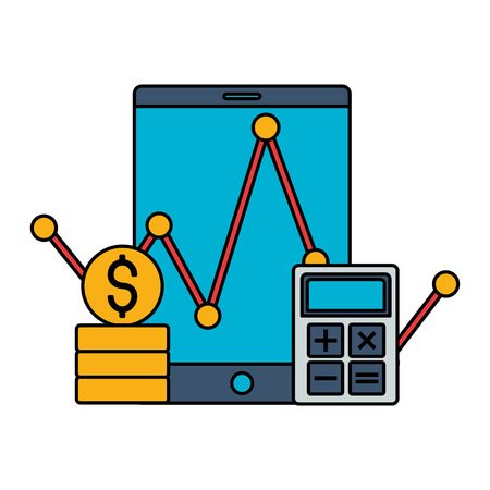 cellphone calculator money coins stock market vector illustration