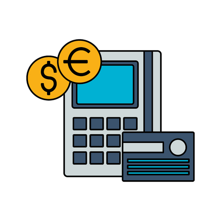 calculator bank card coins stock market vector illustration 스톡 콘텐츠 - 125286116