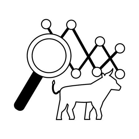 bull chart magnifying glass stock maket vector illustration Illustration