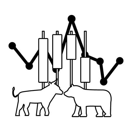 bull bear trade chart stock market vector illustration