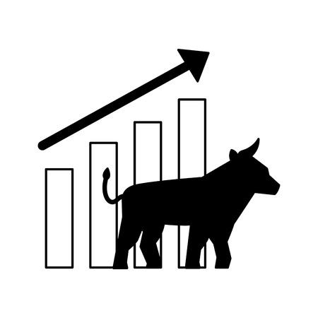 Bull-Chart-Wachstum Aktienmarkt-Vektor-Illustration Vektorgrafik