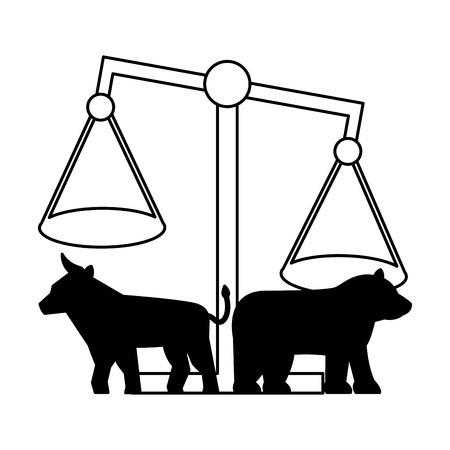 bull bear balance exchange stock market vector illustration