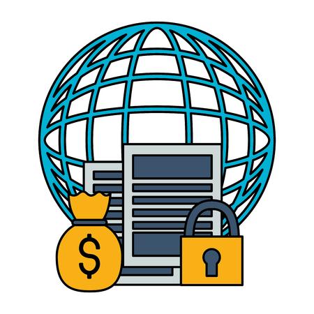 world stock market money bag security vector illustration