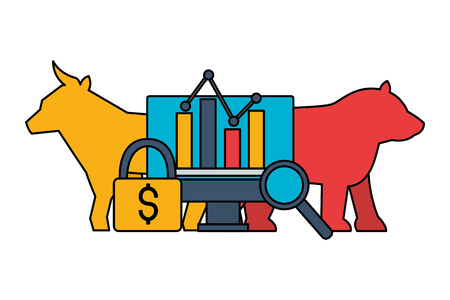 bull bear dollar chart security stock market vector illustration