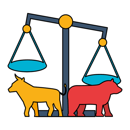 bull bear balance exchange stock market vector illustration Standard-Bild - 125286149