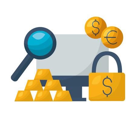 computer security gold bars dollar euro stock market vector illustration