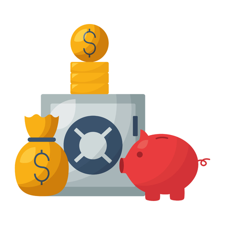 safe box piggy bank money bag stock market vector illustration 일러스트