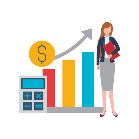 Businesswoman rapport calculatrice coin stock market vector illustration