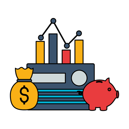 bank card piggy bank chart money stock market vector illustration