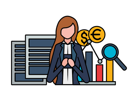 businesswoman with phone chart dollar euro exchange stock market vector illustration