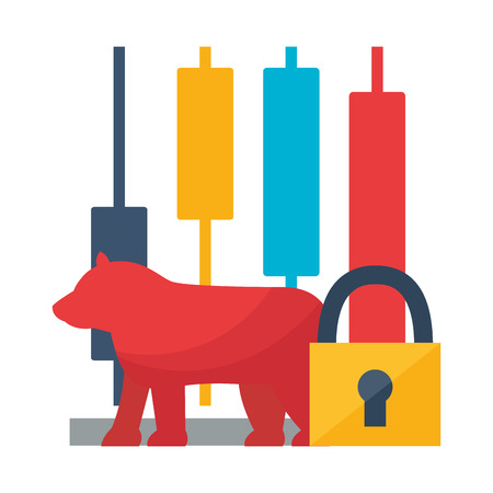bull chart trade secure stock market vector illustration Çizim