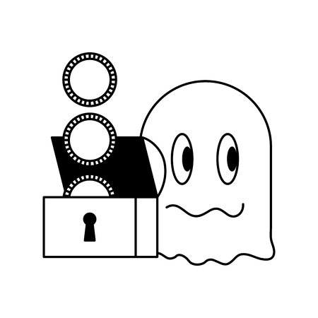 ghost treasure chest coins video game vector illustration