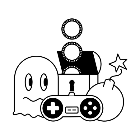 ghost chest boom and control video game vector illustration