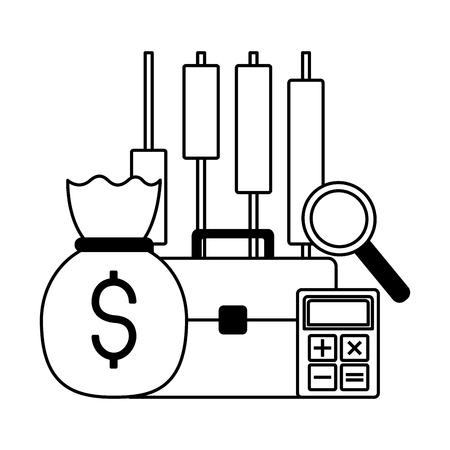 business briefcase money bag calculator stock market vector illustration Illustration