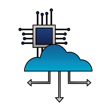 cloud computing connection motherboard processor vector illustration Çizim