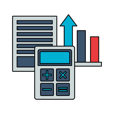 business calculator report chart document vector illustration Çizim