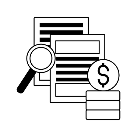 documents coins magnifying glass stock market vector illustration Illustration