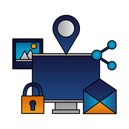computer email padlock picture sharing vector illustration Illustration