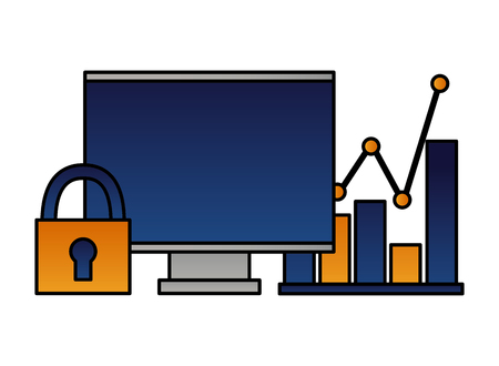 computer chart report security data vector illustration