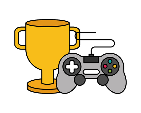 trophy and controller video game vector illustration