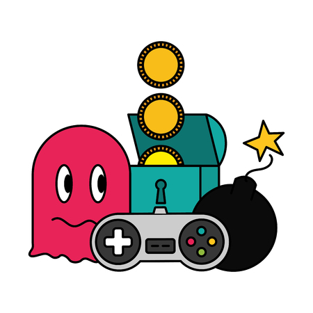ghost chest boom and control video game vector illustration 스톡 콘텐츠 - 125286210
