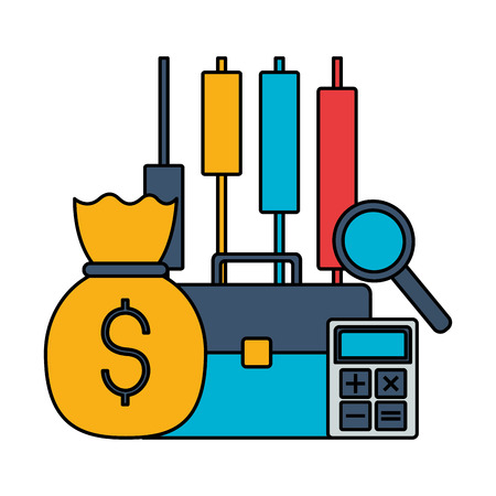 business briefcase money bag calculator stock market vector illustration Ilustração