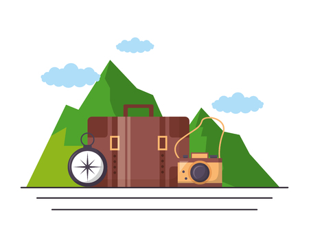 camping suitcase camera compass mountains vector illustration Illustration