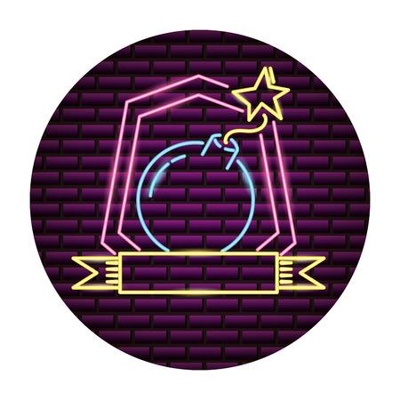 Ilustración de vector de luz de neón de dibujos animados de boom cómico