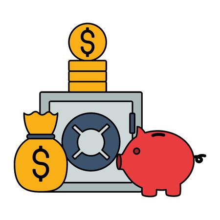safe box piggy bank money bag stock market vector illustration Illustration