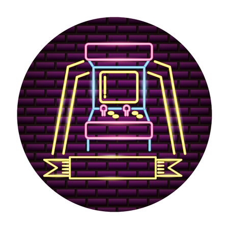 arcade machine control video game neon vector illustration