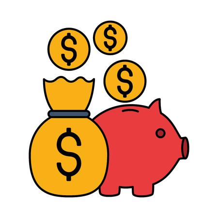 piggy bank money bag coins stock market vector illustration Banque d'images - 125286222