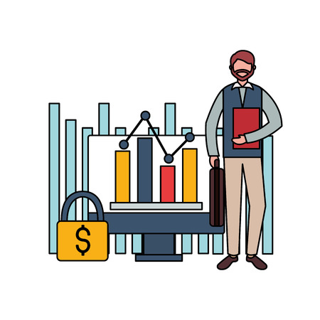 businessman computer report secure stock market vector illustration