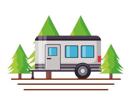 Wohnmobil Anhänger Bäume Kiefer Szene Vektor-Illustration