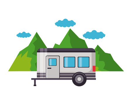 camper trailer mountains sky panorama vector illustration
