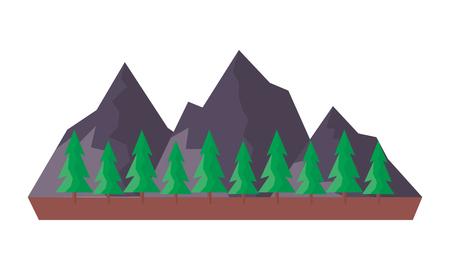 mountains tree pine nature landscape vector illustration Illustration