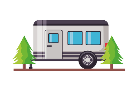 camper trailer trees pine scene vector illustration Иллюстрация