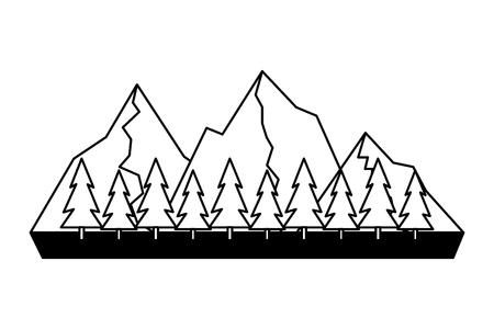 mountains tree pine nature landscape vector illustration Banco de Imagens - 125288145