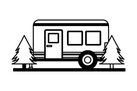 camper trailer trees pine scene vector illustration
