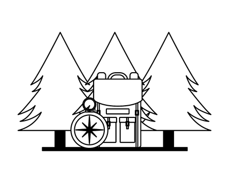 camping backpack compass trees outdoors vector illustration